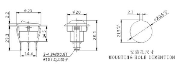 12V 24V Taiheng Micro Rocker Switches T120