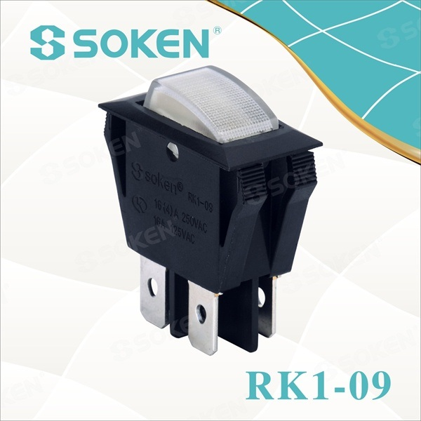 off Işıklı Rocker Switch Double Pole