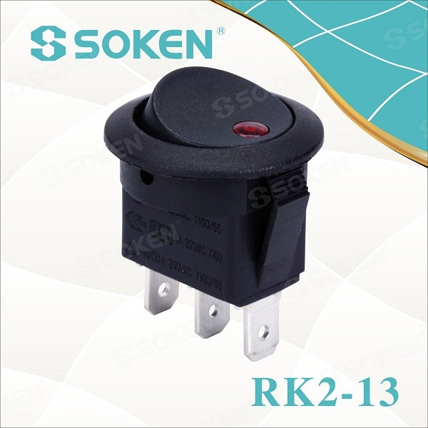 Red Dot Round Rocker Switch / Small Skakelaars 10A 250VAC