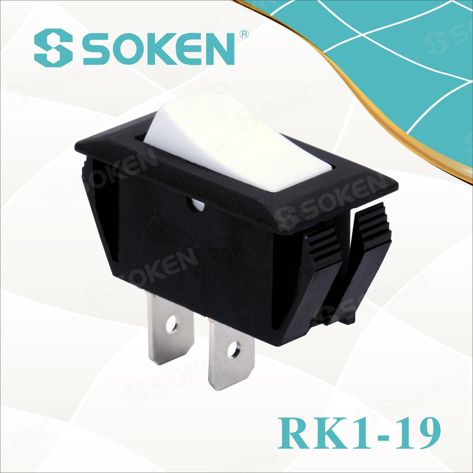 Soken 2 broches Commutateur à bascule 1X1 Rk1-19