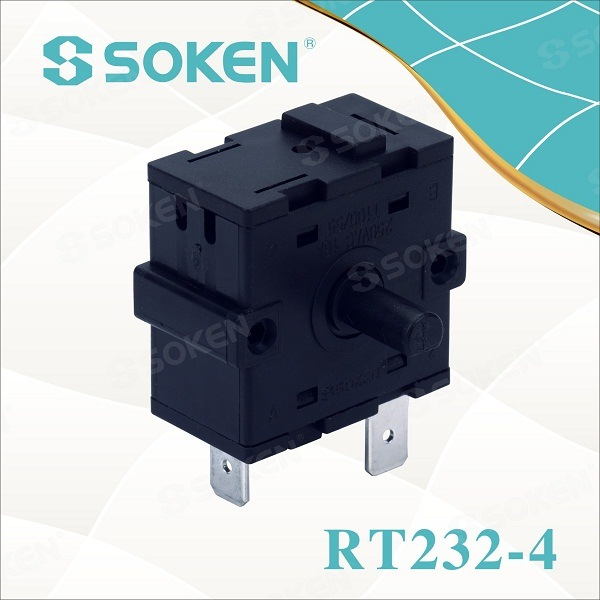 Soken 4 Asta Electrical guhertinên Rotary Switch 16a Rt232-4