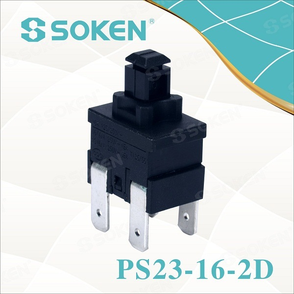 Soken rectangular botó polsador Interruptor de restabliment de PS23-16-2D 2 Pol