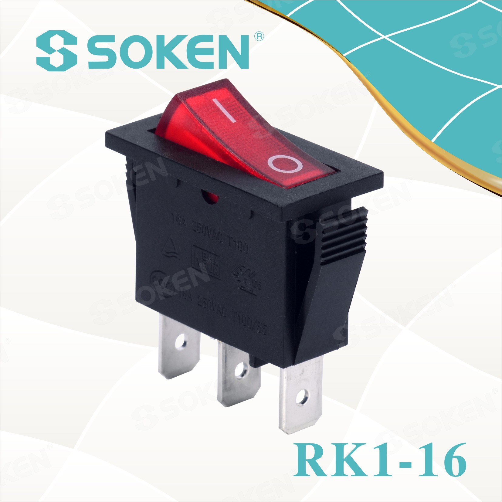 Soken Rk1-16 1X1n B / R na off Rocker Switch