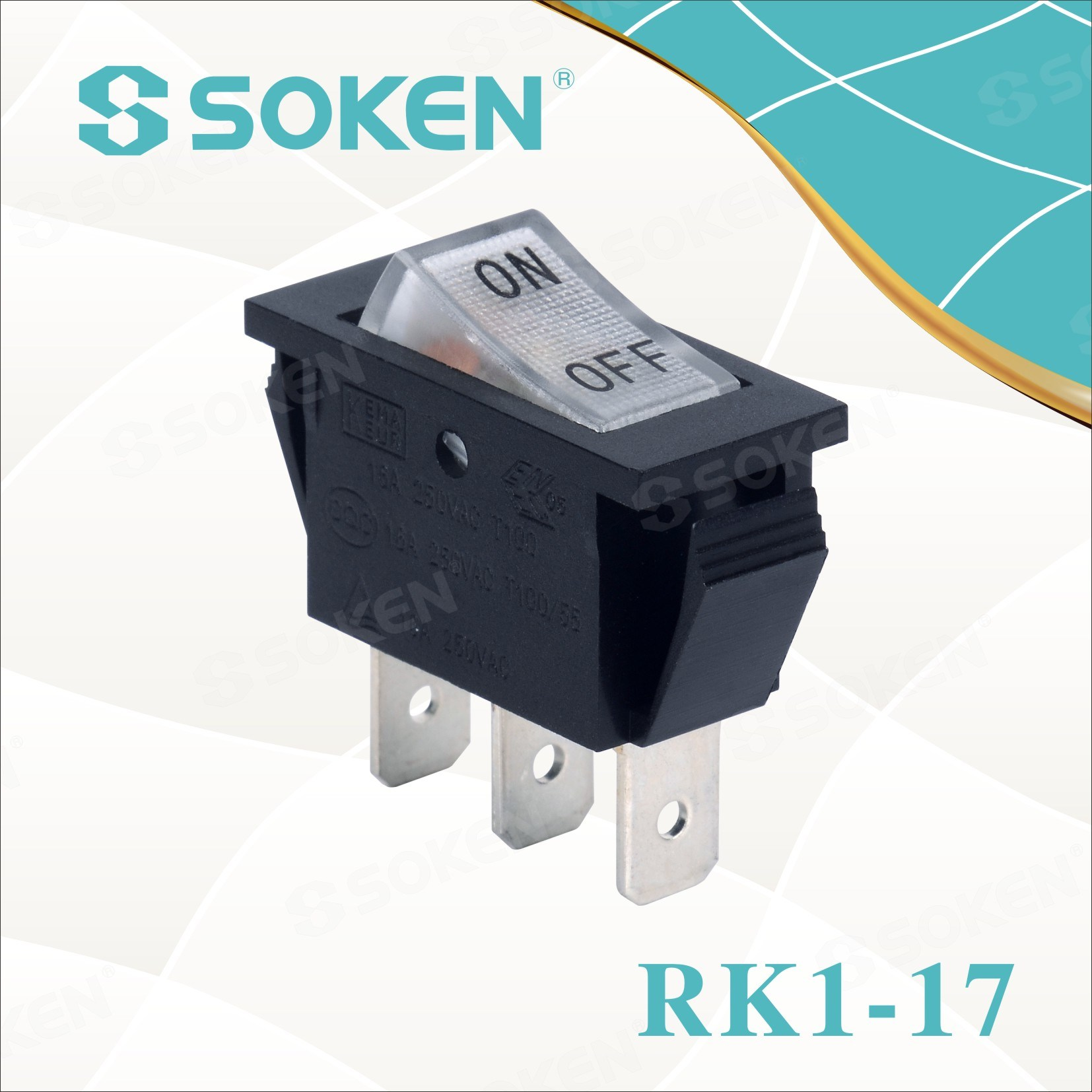 Soken Rk1-17 1X1n on off Iluminado Rocker Switch