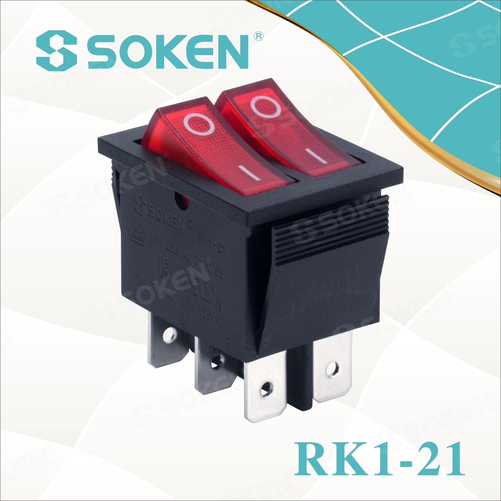 ලකුණු ආලෝකමත් ද්විත්ව Rocker මාරු මත Soken Rk1-21