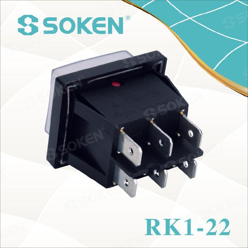 Soken Rk1-22 1X1X2n on off Waterproof Illuminated Double Rocker Switch