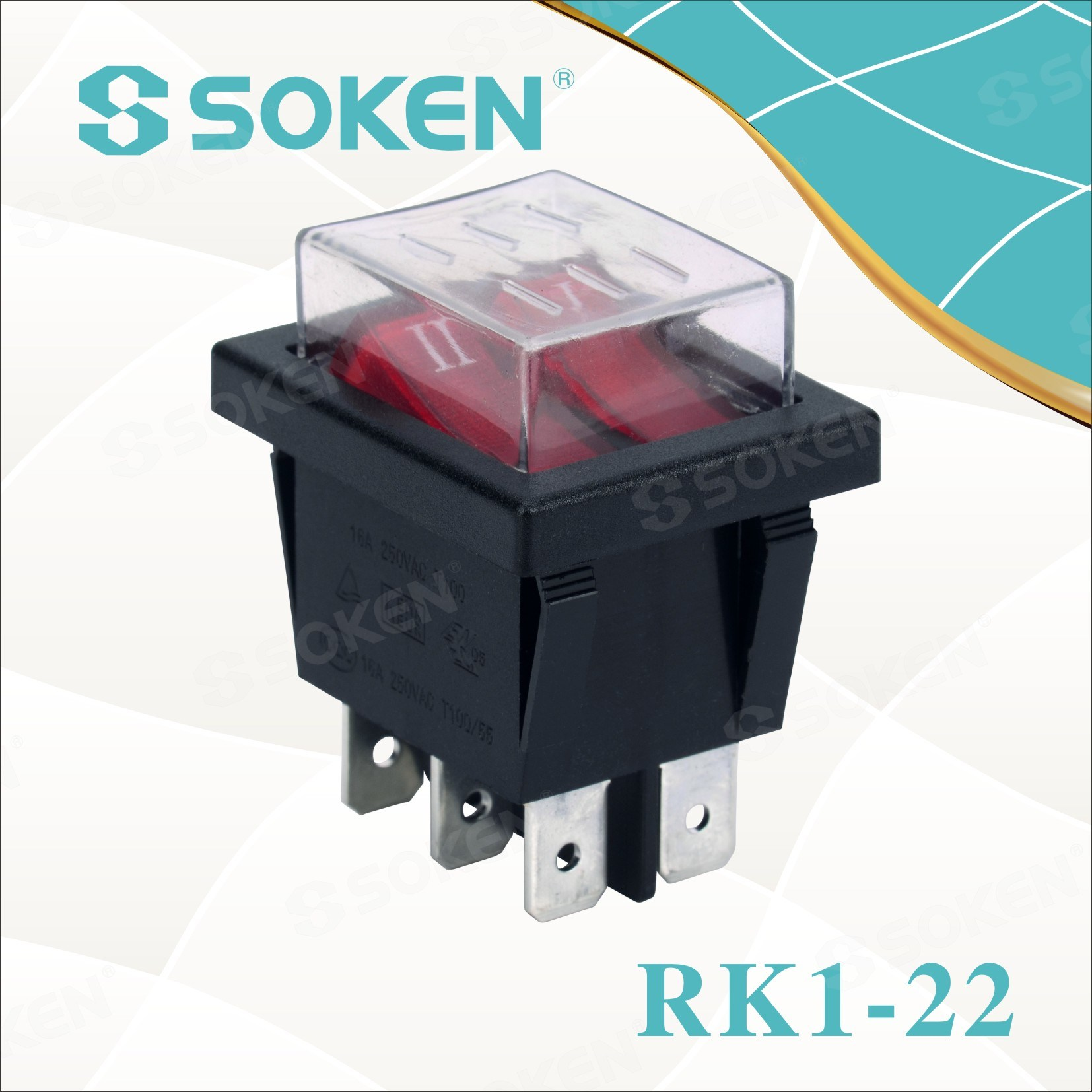 Soken Rk1-22 1X1X2n aan uit Waterproof Illuminated Double Rocker Switch