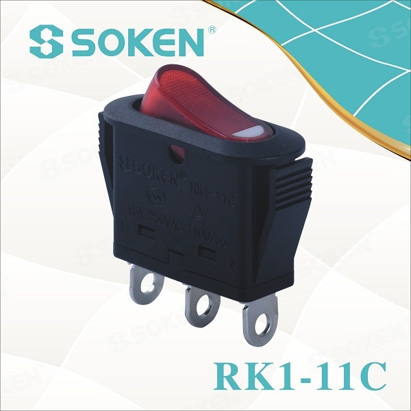 Soken Rocker Switch on-off / on-on para Electrical Appliance Rk1-11c