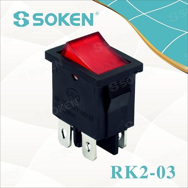 China Factory for Lighted Rocker Switch 12v - Rk2-03 Dpst Kema Keur Lighting Rocker Switch T85 10A 250VAC – Master Soken Electrical