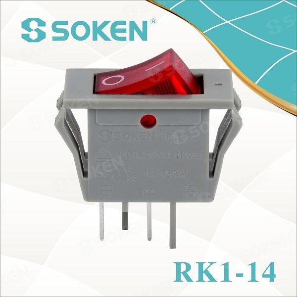 Wholesale ODM 4 Keys Push Button - Soken Electrical Rocker Switch Light T85 16A 250VAC – Master Soken Electrical detail pictures