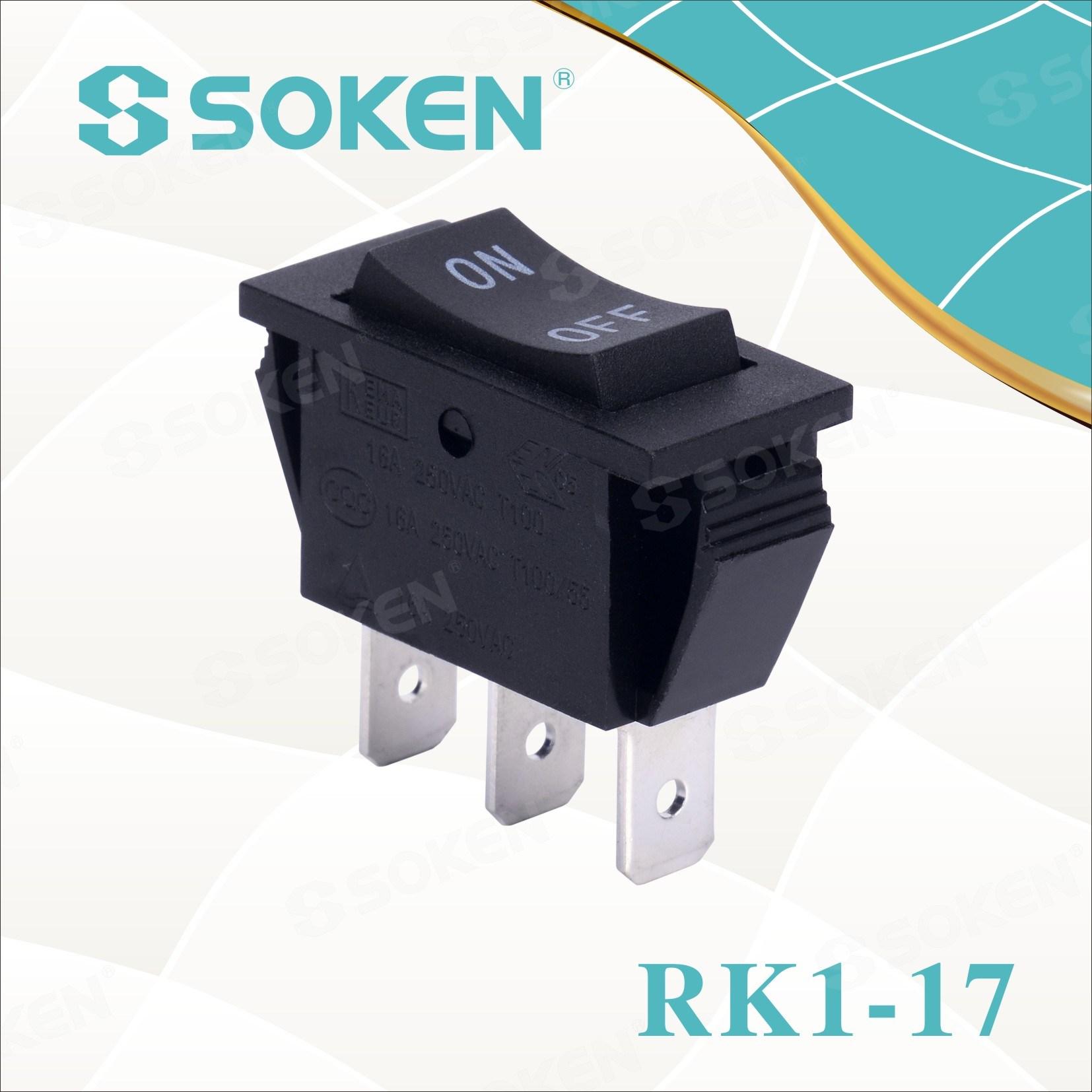 Soken Rk1-17 1x3 ar thalamh ar 3pins Athraigh Rocker