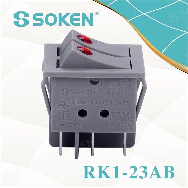Factory Cheap Electrical Wiring Push Button Switch - Soken Switches CQC T100/55 Rocker Switch Kema Keur Switch – Master Soken Electrical detail pictures