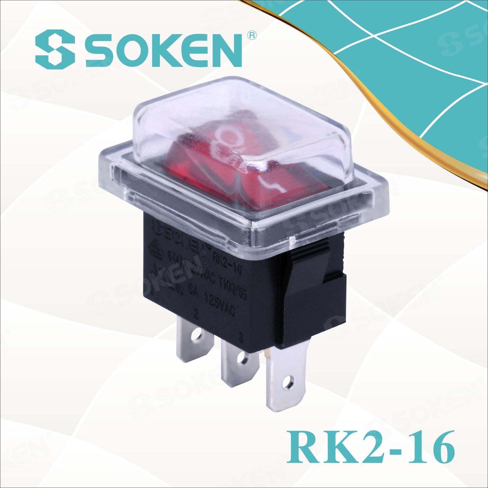 Sokne Rk2-16 1X1n enpèrmeabl sou la Bouton Rocker